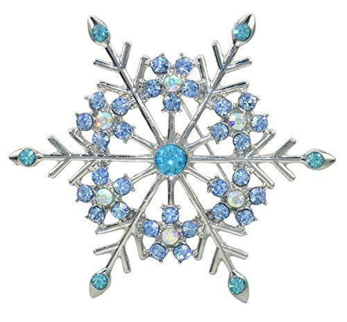 Gyn&Joy Women's Aqua Blue Austrian Crystal Snowflake Brooch Pin Holiday Winter Silver-Tone BZ188