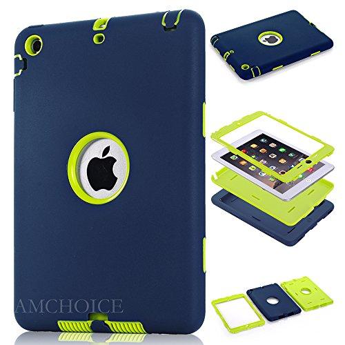 iPad Mini 3 Case,iPad Mini 2 Case, AMCHOICE(TM) Full Body Hybrid Silicone&PC 3 Layer High Impact Resistant Case For Apple iPad Mini 1//2/3 (Navy Blue+Light Green) [Free Stylus]