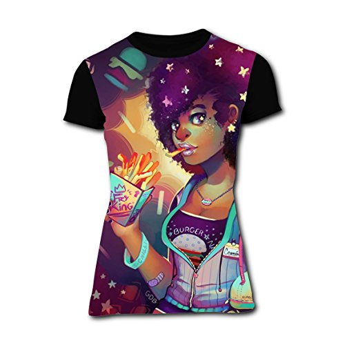 Eat French Fries Africa Afro Slim Tshirts Sports 3D Printed Tee Tops for Womens XXL