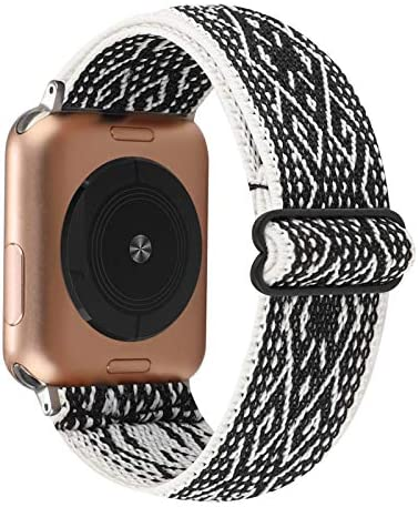Adjustable Elastic Watch Band Compatible with Apple Watch 38mm 40mm, Nylon Stretchy Loop Bracelet Women Replacement for iWatch Series 6/5/4/3/2/1 (Ethnic Black White Rhombus, 38mm/40mm)