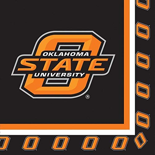 - Oklahoma State Cowboys NCAA Napkins Football Game Day Sports Themed College University Party Supply Napkins for Beverage for 20 Guests Orange Black Paper Napkins