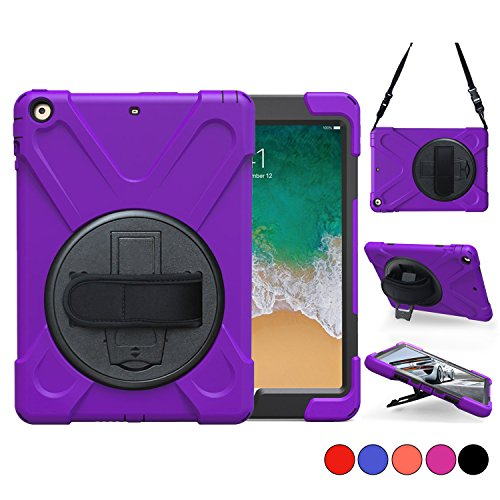 iPad 6th 5th Generation Case for Kids,TSQ Three Layer Hybrid Silicon Hard Defender Bumper Drop Protection Car Case with 360 Degree Rotation Stand,Handle Hand Strap&Neck Shoulder Strap Students Purple (360 Rotation Stand Degree)