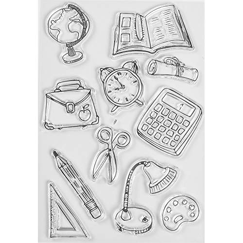 MaGuo Stationery Clear Stamps Pencil, Scissors, Calculator, Lamp for Scrapbook Pages or Paper Craft Projects