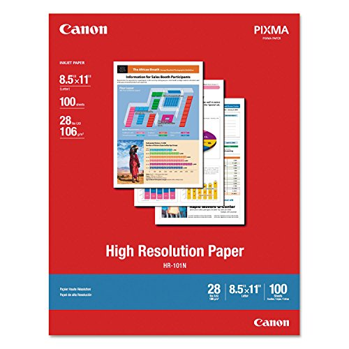 Canon 1033A011 High Resolution Paper Matte 8-1/2 x 11 28 lb. White 100 Sheets/Pack ()