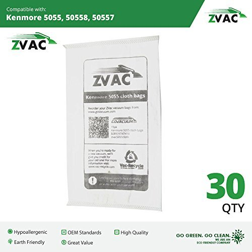 5055 Zvac Kenmore Style C//Q Micro Filtration Canister Cloth Vacuum Bags Similar to 50558 30 Pack 50557