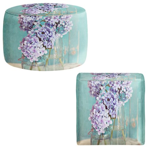 Foot Stools Poufs Chairs Round or Square from DiaNoche Designs by Sylvia Cook - Hydrangeas in Mason Jars by DiaNoche Designs