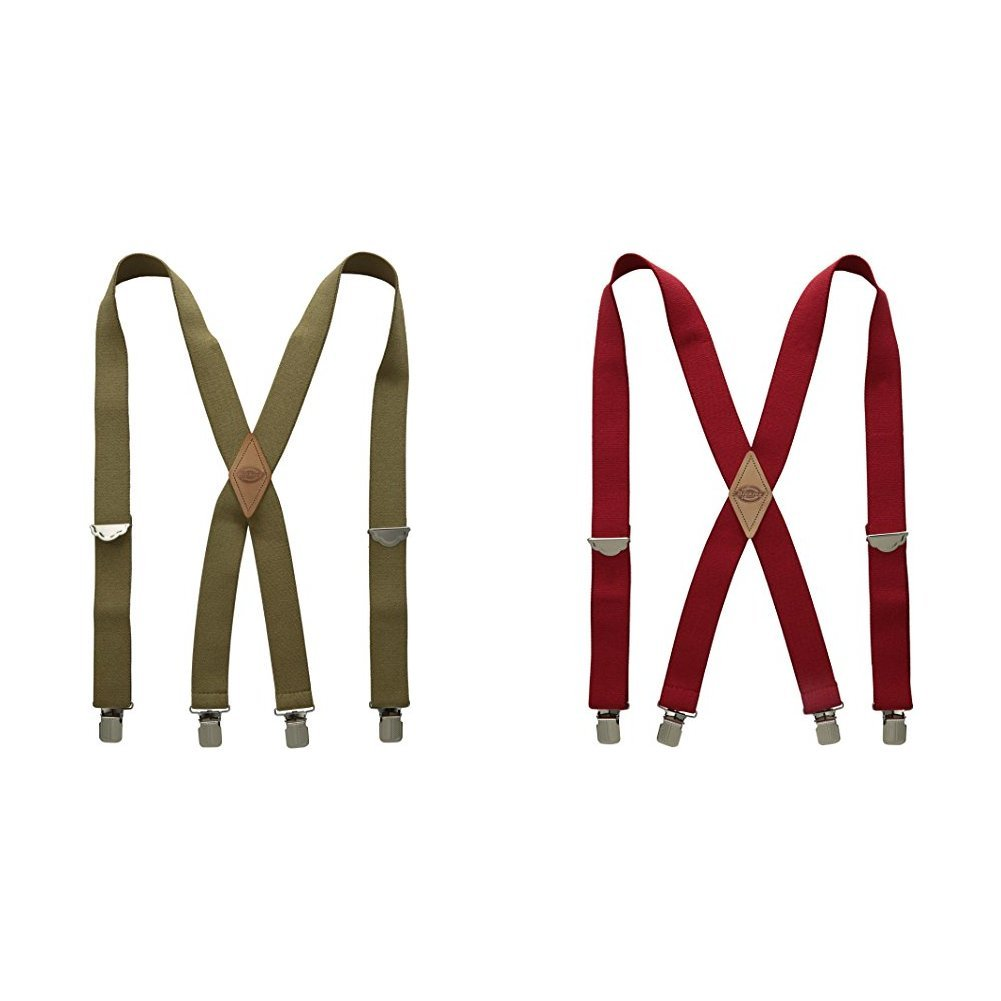 Dickies Men's Solid Straight Clip Suspender Beige and Red