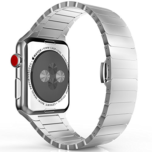 MoKo Band for Apple Watch Series 3 Bands, Stainless Steel Replacement Band Wrist Strap with Butterfly Buckle Clasp for iWatch 42mm 2017 Series 3 / 2 / 1 - Silver (Not Fit iWatch 38mm)