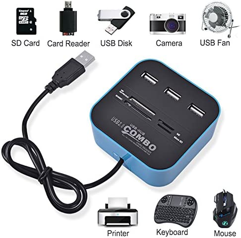 Computer Accessories 2 in 1 USB 2.0 M2 Color : Blue TF//SD//MMC//MS//MS PRO Duo Card Reader /& 3-Port HUB Black