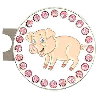 Giggle Golf Bling Pig Golf Ball Marker With A Standard Hat Clip