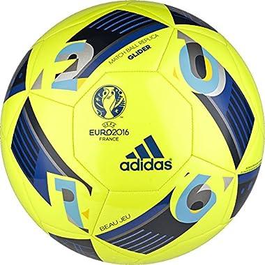 adidas Performance Euro 16 Glider Soccer Ball, Solar Yellow/Collegiate Royal/Night Indigo, 5