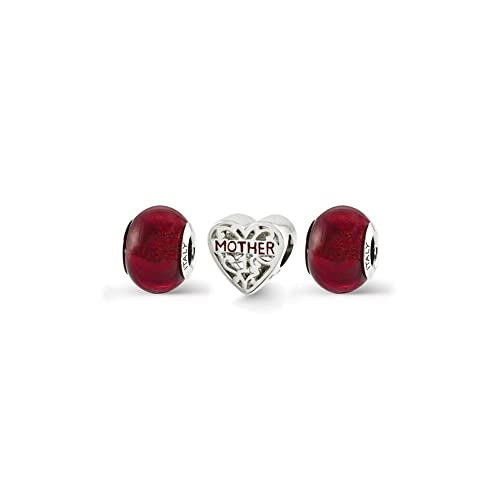 Beautiful Sterling silver 925 sterling Sterling Silver Reflections Red Enameled Hearts Bead