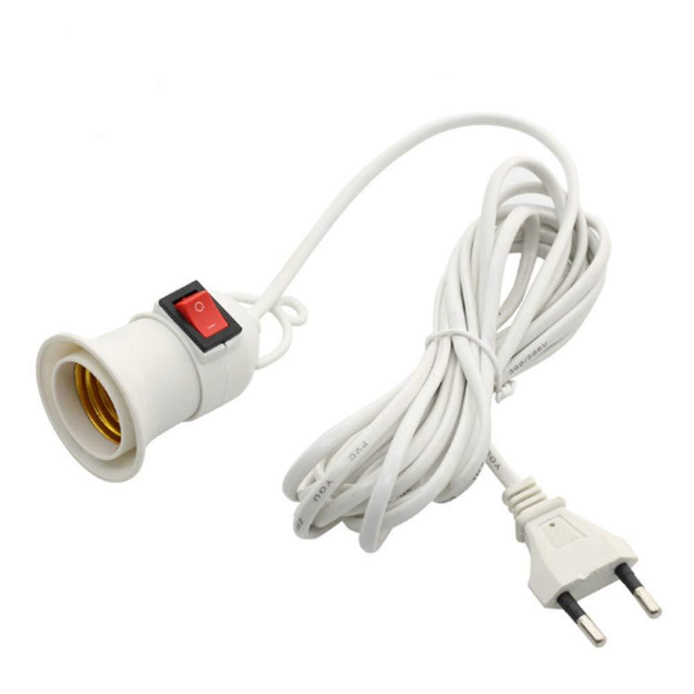 Limeo E27 Portal/ámparas con Interruptor E27 Z/ócalo Blanco con Cable de Alimentaci/ón interruptor de aro de Tornillo Edison Modern DIY Chandelier 2 Piezas para Colgar Chandelier