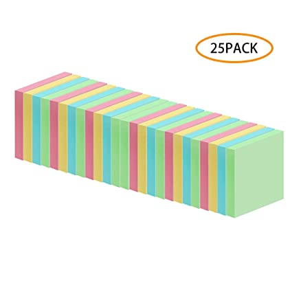 3x3 Inch Sticky Notes Self-Stick Note Pad Post for Home Sticky Notes 72 Sheets//Pad Pack of 25 Office 4 Colors