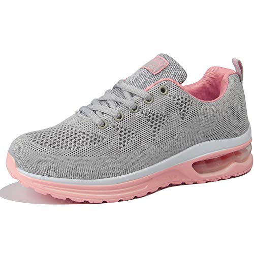 JACKSHIBO Men Women Sneakers Ultra Lightweight Comfortable Work Tennis Running Shoes Grey Pink