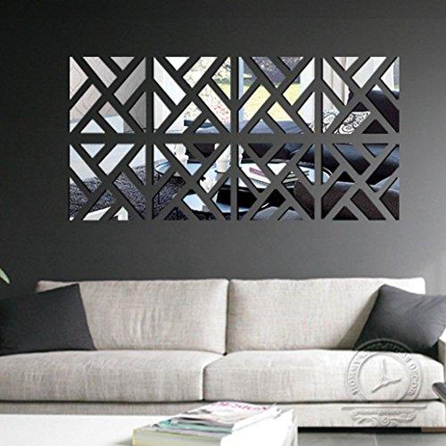 Vibola 32Pcs Removable 3D Mirror Acrylic Zebra Line Wall Sticker DIY Art Vinyl Decal Home Decor (Silver)