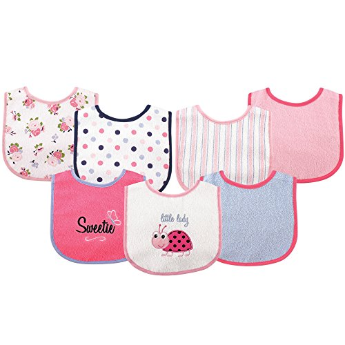 Luvable Friends 7 Piece Drooler Bibs with Waterproof Backing, Ladybug