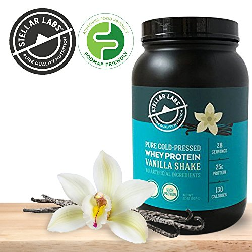 Low Carb Gluten Free Cold Pressed Vanilla Whey Isolate Protein Powder - Tastes Great with Water or Milk! All Natural with Stevia - Low FODMAPs - Protein for Weight Loss (Vanilla)