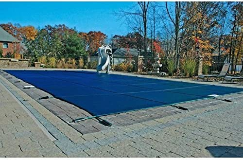 18x36 Mesh Blue CES Rectangle Inground Safety Pool Cover 18 ft x 36 ft In Ground Winter Cover with 4x8 Center End Steps