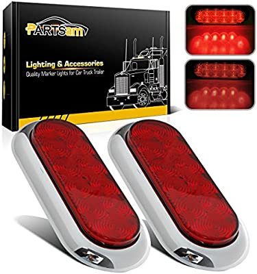 Partsam 2pcs RED LED Marker Clearance Light Chrome Guarded Armored trailer RV Camper 12LED