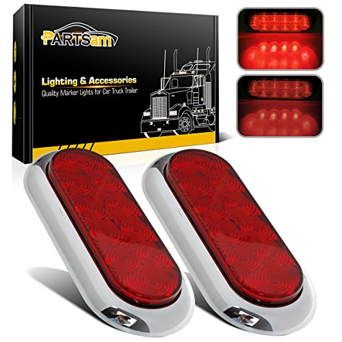 "2PCS 6"" Oval Chrome Trailer Truck Red 10 LED Surface Mount Stop Turn Tail Lights"