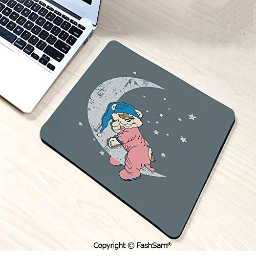 Personalized 3D Mouse Pad Cute Kids Design with a Baby Bear in Pajamas Sleeping on The Grungy Moon Decorative for Laptop Desktop(W7.8xL9.45)