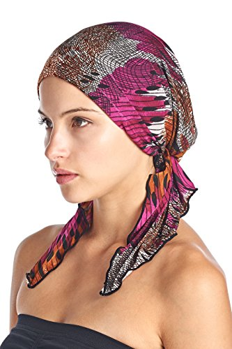 (Ashford & Brooks Women's Pretied Printed Fitted Headscarf Chemo Bandana - Purple Brown Black Abstract)