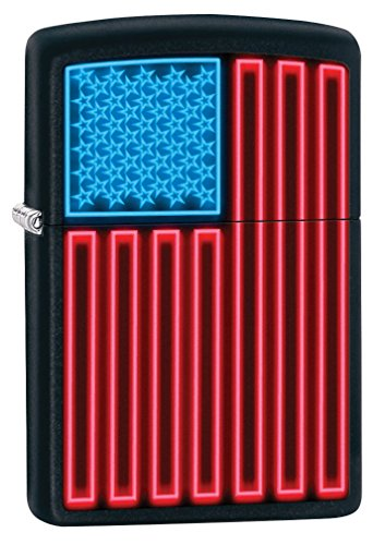 (Zippo Lighter: Neon American Flag - Black Matte 79566)