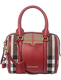 burberry handbags outlet sale 0aho  Burberry Women's Small House Check Sartorial Bowling Bag Red