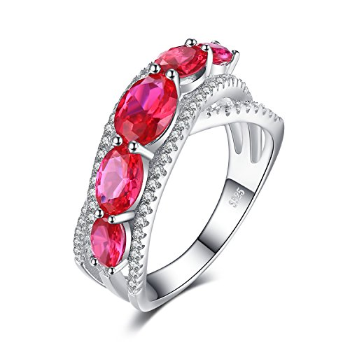 JewelryPalace 2.8ct Oval Created Red Ruby Cross-Over Wedding Ring 925 Sterling Silver Size 9 ()
