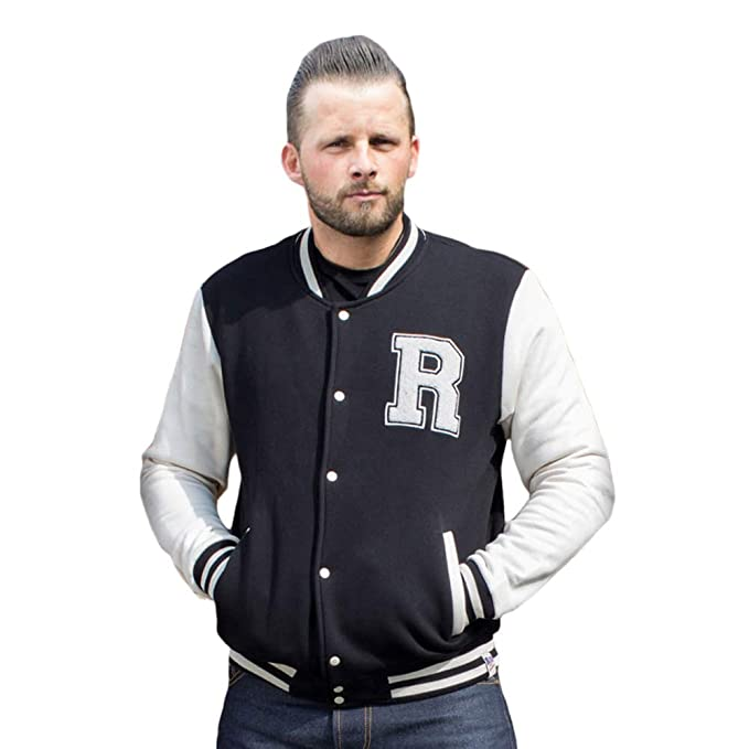 RUMBLE59 Chaqueta Chico beisbolera Negro Sweat College Jacket RUM460 (XL)