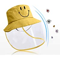 Toddler Kids Anti-Saliva Droplets Hat With Separate Mask Face Cover Epidemic Prevention Fisherman Hat Removable Mask (Yellow)