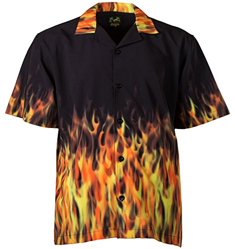 Benny's Red Flames Bowling Shirt S]()