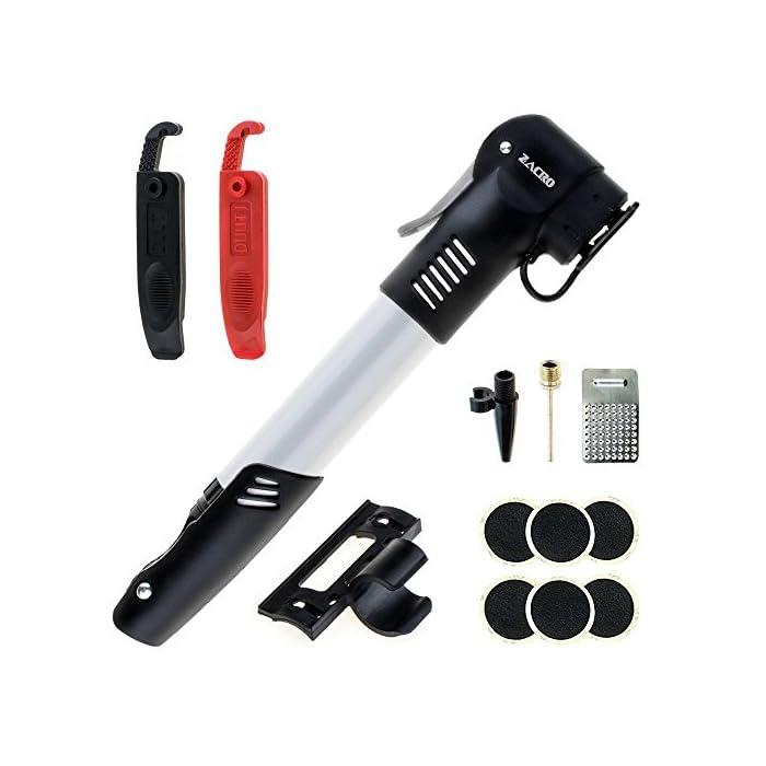 Zacro Mini Bomba de Bicicleta, con Kit de Reparacion de Pinchazos de Neumáticos sin Cola y Palancas, Marco de Montaje y Bola de Aguja, Compatible con Schrader