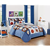 "Mk Collection 2 Pc Bedspread Boys Sport Football Basketball Baseball Twin / Twin Extra Long 68"" x 90"" New"