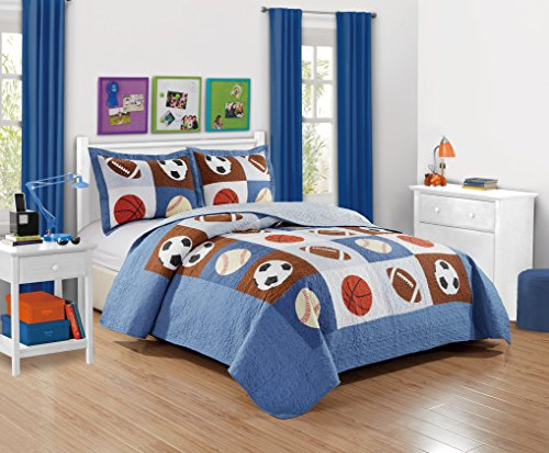 Mk Collection 3pc Bedspread Boys Sport Football Basketball Baseball New (Queen)