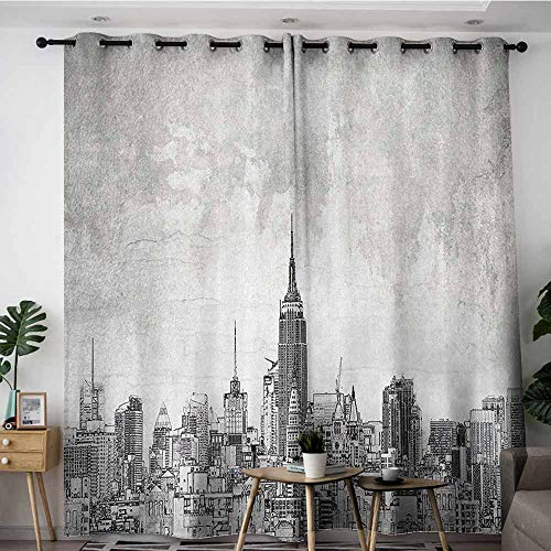 (Onefzc Grommet Curtains,Apartment Decor Collection Cosmopolitan New York City Skyline with Iconic Skyscrapers and High Buildings Artsy Design,Room Darkening, Noise Reducing,W84x72L,Grey)