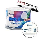 Smartbuy 50-disc 8.5GB/240min 8x DVD+R DL Logo Top Blank Media Record Disc + Black Permanent Marker