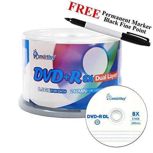 Smartbuy 50-disc 8.5GB/240min 8x DVD+R DL Logo Top Blank Media Record Disc + Black Permanent Marker by Smartbuy