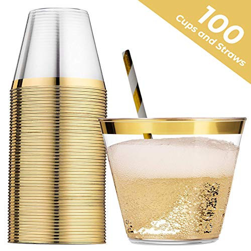 100 Gold Rimmed Plastic Cups - 9 Ounce With 100 Pack Bonus Straws Disposable Wine Glasses Cocktail Cups Hard Plastic Cups Wedding Bachelorette Party Decorations Plastic Champagne Flutes Tumbler Cup