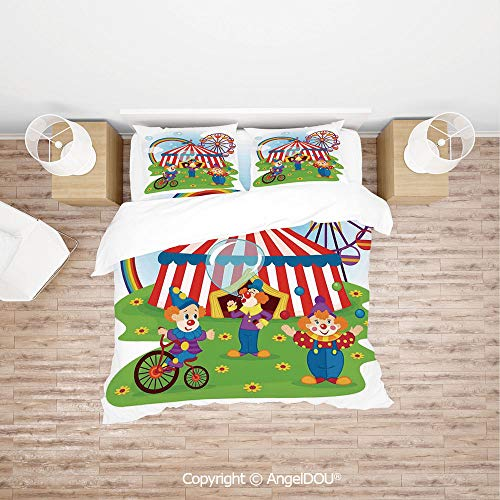 PUTIEN Durable Lightweight Fabric Printing Custom Bedding Set,Fun Circus Scene with Clowns on Grass Rainbow Ferris Wheel Happy Bubbles Childhood Theme,for Colorful Home Decor.