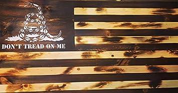 Burnt Wooden Gadsden American Flag