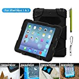 Aceguarder global design new products iPad mini 1&2&3 case snowproof waterproof dirtproof shockproof cover case with stand Super protection for kids Outdoor adventure sports tourism Gifts Outdoor Carabiner + whistle + handwritten touch pen (ACEGUARDER brand)(Black)