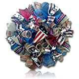 Custom & Unique (21'' Inch) 1 Single Large Size Decorative Holiday Wreath for Door w/ Summer 4th of July Independence Day Flag Heart ''God Bless America'' w/ Mesh Ribbon Style (Black, Red, White, & Blue)