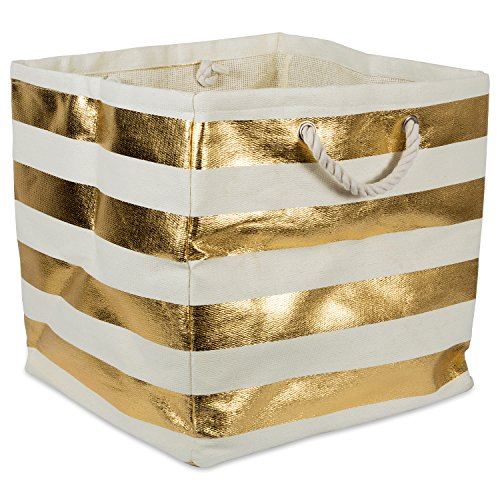 Grommet Bag Tote (DII Oversize Woven Paper Storage Basket or Bin, Collapsible & Convenient Home Organization Solution for Office, Bedroom, Closet, Toys, Laundry (Large Square 16x16x16) - Gold Rugby Stripe)