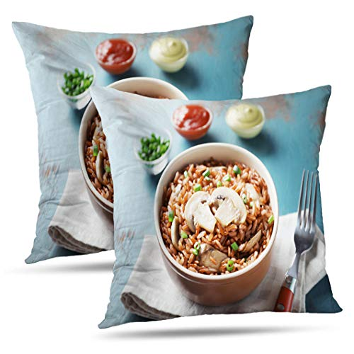 Alricc Set of 2 with Tasty Brown Rice and Mushrooms Color Wooden Red Chinese Decorative Throw Pillows Cushion Cover for Bedroom Sofa Living Room 18X18 Inches