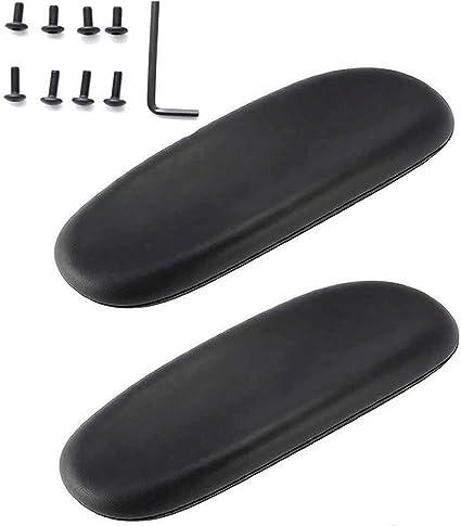 1 paio di cuscinetti universali in morbida pelle PU per ricambio per sedie da ufficio Nero WADY colore: nero 10inch Similpelle adatti a tutti i braccioli