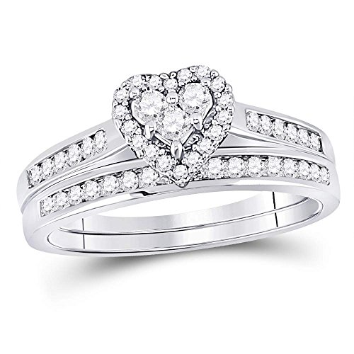 Size 7-10K White Gold Diamond Ladies Bridal Engagement Ring with Matching Wedding Band Two 2 Ring Set - Halo Heart Shape Center Setting w/Channel Set Princess Cut & Round Diamonds - (.55 cttw)