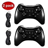 Cheap Kulannder Wii U Pro Controller- Perfect Gift for Kids -Wireless Rechargeable Bluetooth Dual Analog Controller Gamepad for Nintendo Wii U with USB Charging Cable (2-Pack Black)