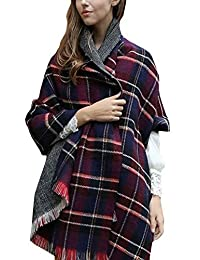 Women's Scarf Plaid Striped Scarves Shawls Blanket Poncho with Fringe Trims(Navy)